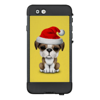 British Bulldog Puppy Dog Wearing a Santa Hat LifeProof NÜÜD iPhone 6 Case