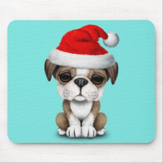 British Bulldog Puppy Dog Wearing a Santa Hat Mouse Pad