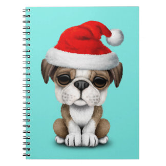 British Bulldog Puppy Dog Wearing a Santa Hat Notebook