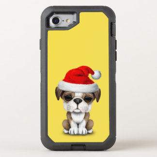 British Bulldog Puppy Dog Wearing a Santa Hat OtterBox Defender iPhone 8/7 Case