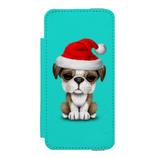 British Bulldog Puppy Dog Wearing a Santa Hat Wallet Case For iPhone SE/5/5s