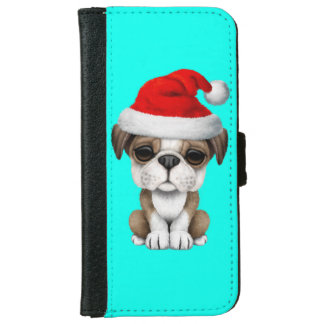 British Bulldog Puppy Dog Wearing a Santa Hat Wallet Phone Case For iPhone 6/6s