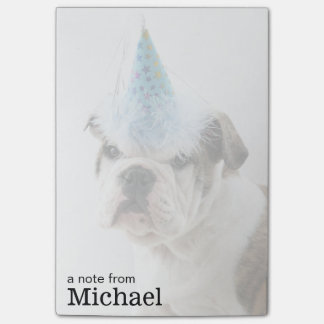 British Bulldog Puppy Wearing A Party Hat Post-it Notes