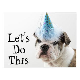 British Bulldog Puppy Wearing A Party Hat Postcard