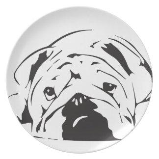 British Bulldog Stencil Melamine Plate