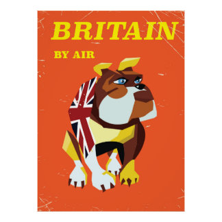 British Bulldog Vintage style travel poster