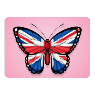 """British Butterfly Flag on Pink 5"""" X 7"""" Invitation Card"""