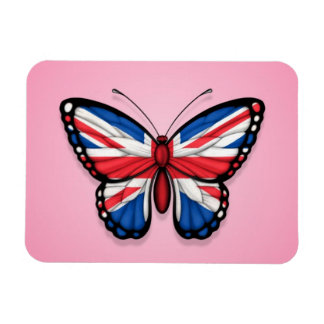 British Butterfly Flag on Pink Magnet