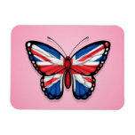 British Butterfly Flag on Pink Rectangular Photo Magnet