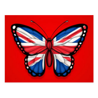 British Butterfly Flag on Red Postcard