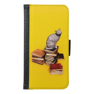 British Cat on a stack of books Wallet Phone Case For Samsung Galaxy S6
