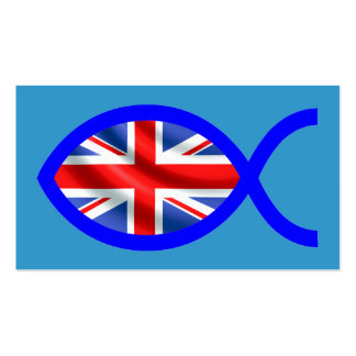 British Christian Fish Symbol Flag Tract Card / Double-Sided Standard Business Cards (Pack Of 100)