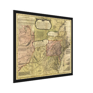 British Colonies in America Map (1765) Canvas Print