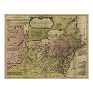 British Colonies in America Map (1765) Poster