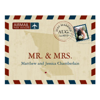 British Columbia Airmail | Wedding Thank You Postcard