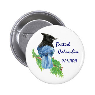 British Columbia Canada Watercolor Stellar Jay Button