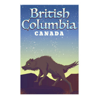 British Columbia Canada Wild Wolf poster Stationery
