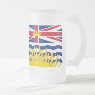 British Columbia Flag Frosted Glass Beer Mug
