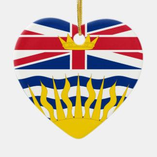 British Columbia Flag Heart Christmas Ornaments