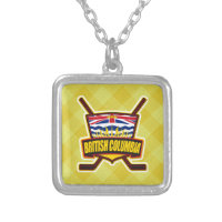 British Columbia Hockey Flag Silver Plated Necklace