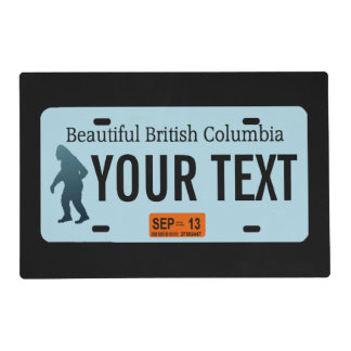 British Columbia Sasquatch License Plate Placemat
