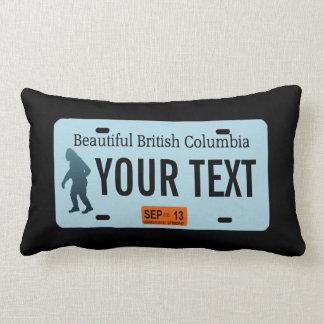 British Columbia Sasquatch License Plate Throw Pillow