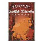 British Columbia vintage cartoon travel poster. Canvas Print