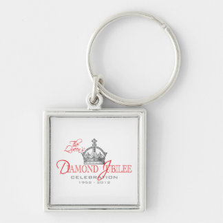 British Diamond Jubilee - Royal Souvenir Silver-Colored Square Keychain