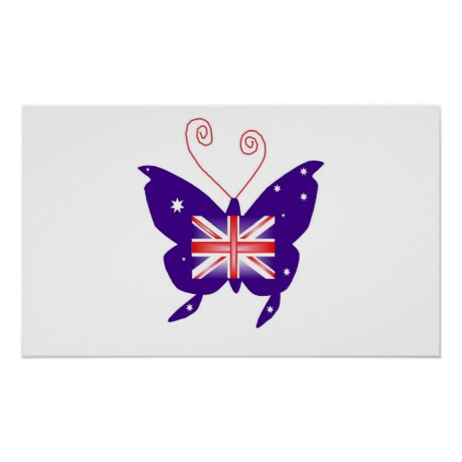 British Diva Butterfly In White I Posters