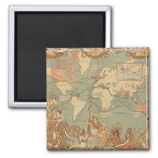 British Empire Vintage Victorian Map 2 Inch Square Magnet