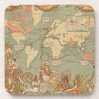British Empire Vintage Victorian Map Beverage Coaster