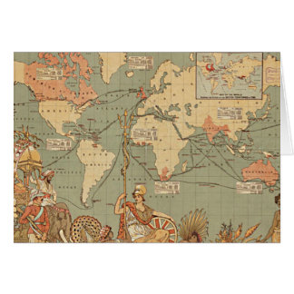 British Empire Vintage Victorian Map Stationery Note Card