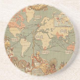 British Empire Vintage Victorian Map Sandstone Coaster