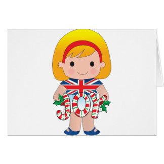 British/English Christmas Girl Card