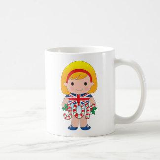 British/English Christmas Girl Coffee Mug