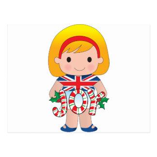 British/English Christmas Girl Postcard