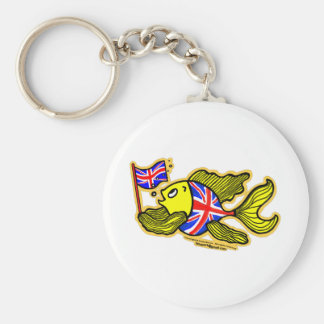 British Fish with a Union Jack Flag Keychain