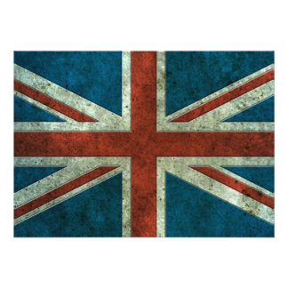 British Flag Aged Steel Effect Personalized Announcements