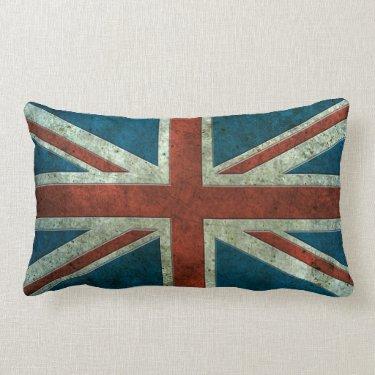 British Flag Aged Steel Effect Throw Pillow
