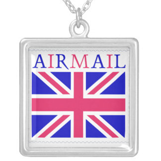 British Flag Airmail Stamp Square Pendant Necklace