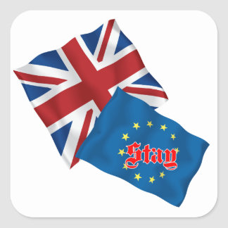 British Flag  and EURO flag with Stay Square Sticker
