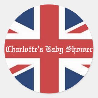 British Flag Baby Shower Classic Round Sticker