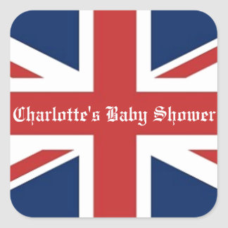 British Flag Baby Shower Party Favor Square Sticker