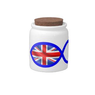 British Flag Christian Fish Symbol Candy Dish