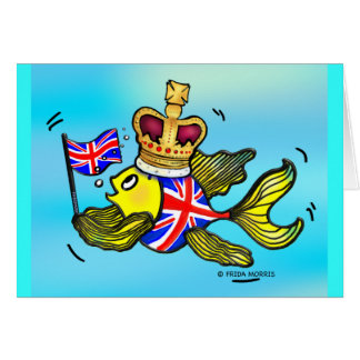 British Flag Fish wearing a crown funny cartoon Card