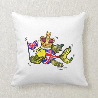 British Flag Fish wearing a crown funny cartoon Throw Pillow