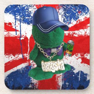 British Flag Grafitti Fonty Drink Coaster