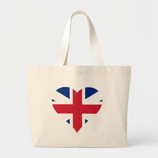 British Flag Heart Canvas Bags