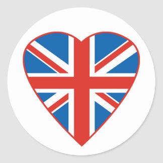 British Flag Heart Classic Round Sticker