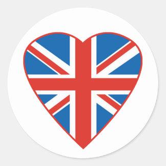 British Flag Heart Classic Round Sticker
